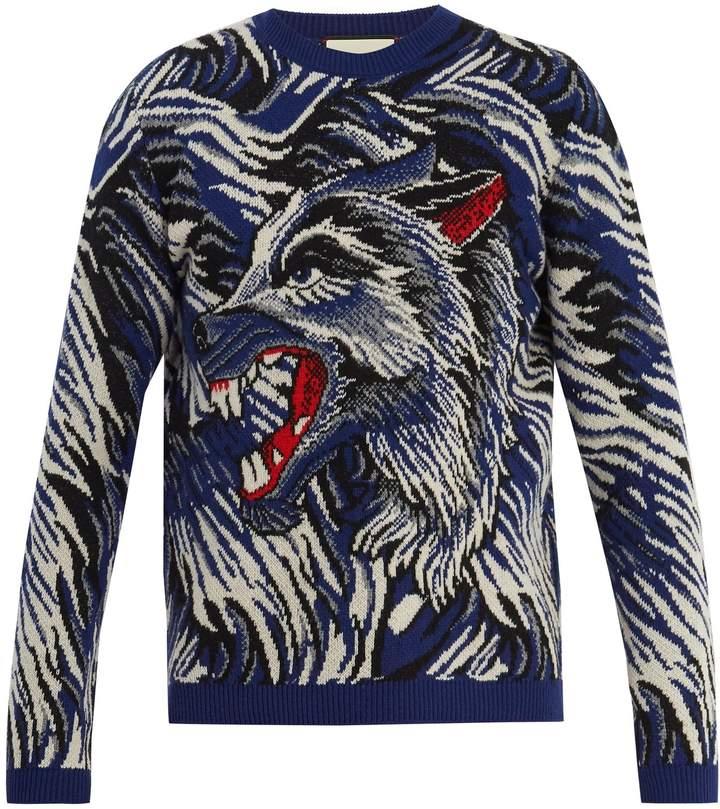 Gucci Wolf intarsia-knit wool sweater