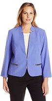 Nine West Women's Plus-Size Kiss-Front Jacket