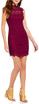Free People Daydream Mock Neck Sleeveless Scalloped Lace Bodycon Dress