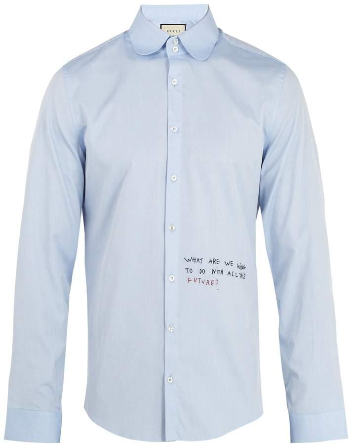Gucci Single-cuff embroidered oxford-cotton shirt