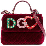 Dolce & Gabbana logo quilted bag - kids - Calf Leather/Velvet - One Size
