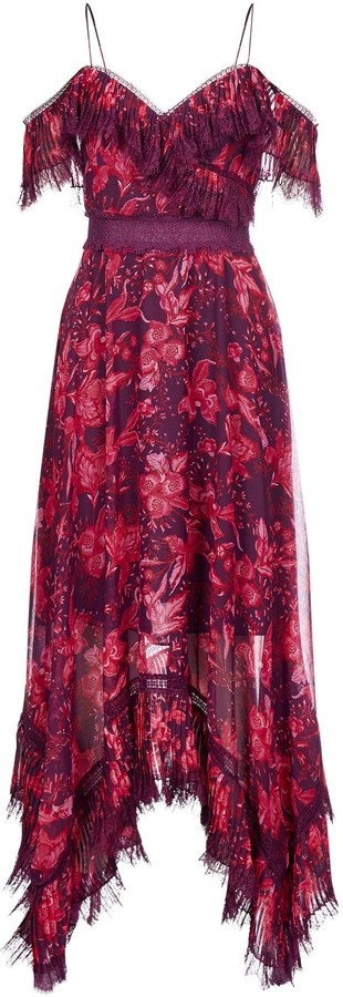 Alice + Olivia Harper Floral Print And Lace Maxi Dress