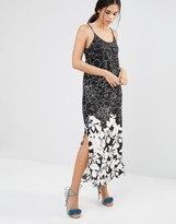 Daisy Street A Line Maxi Dress In Mono Illustrated Floral Print