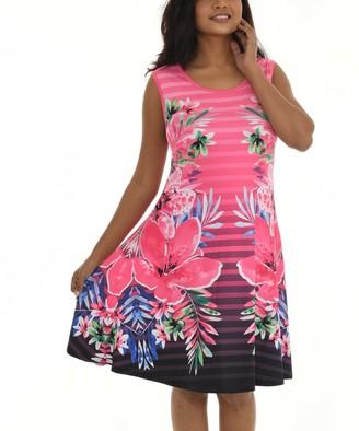 Shoreline Women's Casual Dresses PINK - Pink Floral Stripe Sleeveless A-Line Dress - Women & Plus