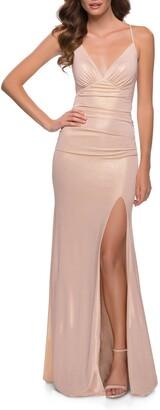 La Femme Strappy Sparkle Jersey Gown