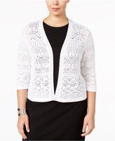 JM Collection Plus Size Crochet Shrug, Created for Macy's