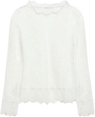 Maje Crochet-trimmed Cotton-blend Lace Top