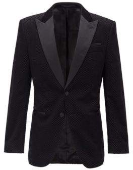 HUGO BOSS - Slim Fit Dinner Jacket With Silk Trims - Black
