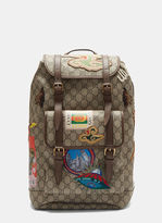 Gucci Courier Gg Supreme Backpack In Brown