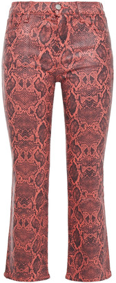 J Brand Coated Snake-print Mid-rise Bootcut Jeans