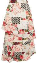 Vilshenko Radinka Tiered Printed Silk Crepe De Chine Midi Skirt
