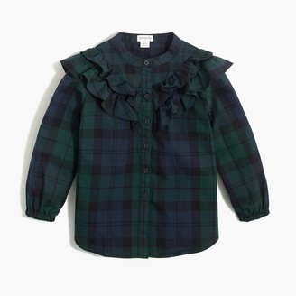 J.Crew Girls' ruffle-front top in Black Watch plaid