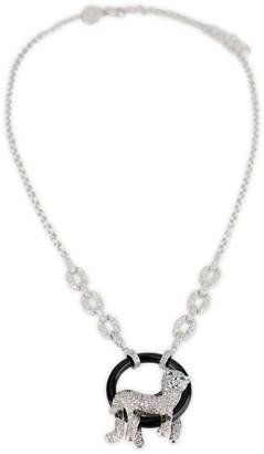 Kenneth Jay Lane Cz By Silvertone, Onyx & Cubic Zirconia Pave Panther Pendant Necklace