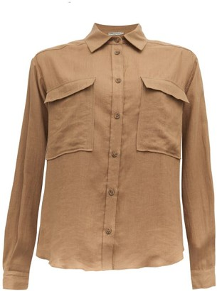 Three Graces London Willow Safari Linen Shirt - Womens - Khaki