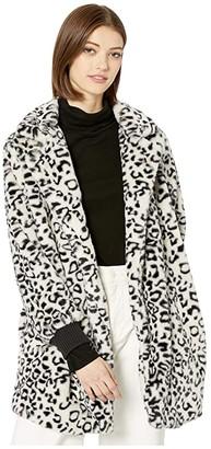 BB Dakota Top Cat Faux Leopard Fur Coat with Rib Cuff (Ivory) Women's Coat