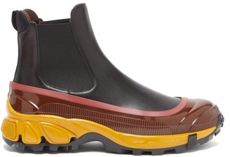 Burberry Logo-embossed Overshoe Leather Chelsea Boots - Black Multi