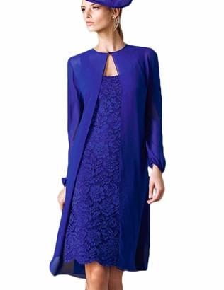 Stillluxury Long Sleeve Jacket Chiffon Lace Mother of Bride Dress Knee-Long Evening Royal Size 16 M16