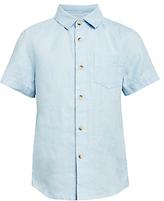 John Lewis Boys' Solid Linen Shirt, Blue