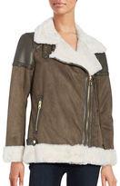 Michael Kors Faux Fur-Accented Faux Suede Coat