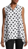 Equipment Milla Sleeveless Heart-Print Shirt, Bright White