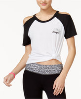 Material Girl Juniors' Cold-Shoulder Varsity T-Shirt, Created for Macy's