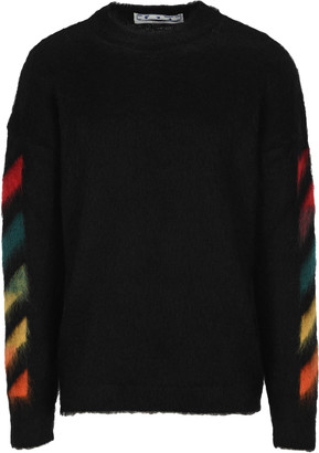 Off-White Off White Arrows Print Brushed-effect Jumper