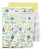 Carter's Safari Print 4-Pack Blankets in Yellow Solid Grey Stripe