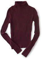 Aeropostale Womens Solid Ribbed Turtleneck Sweater