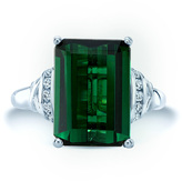 Ice 7 CT TW Emerald-Cut Green Tourmaline and Diamond 14K White Gold Solitaire Ring