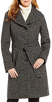 Anne Klein Shawl Collar Wool Tweed Belted Walker Coat