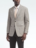 Banana Republic Slim Gray Plaid Linen Blazer
