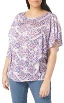 Evans Plus Size Women's Ruffle Print Top