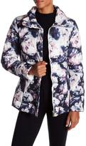 Eliza J Floral Printed Satin Zip Front Down Padded Jacket