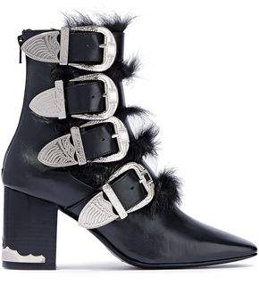 Toga Pulla Shearling-paneled Buckle-detailed Leather Ankle Boots