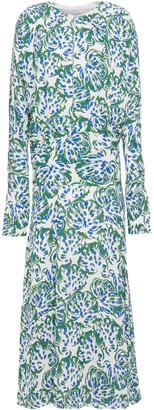 Victoria Victoria Beckham Draped Printed Textured-crepe Midi Dress