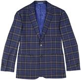 English Laundry Blue Plaid Slim Fit Jacket