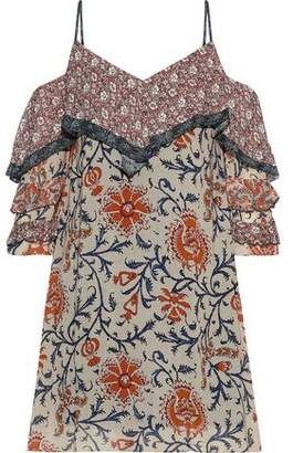 Bailey 44 Endonesia Cold-shoulder Floral-print Georgette Mini Dress