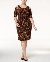 Connected Plus Size Cold-Shoulder Animal-Print Sheath Dress