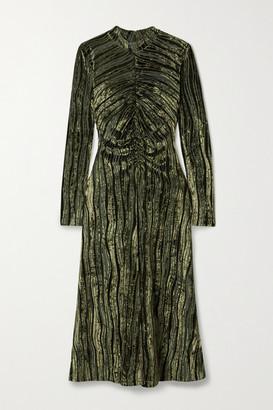 Stine Goya Asher Gathered Devore-velvet Midi Dress - Army green
