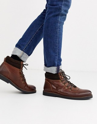 Dune leather chunky hiker boot in tan