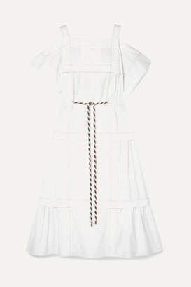 Peter Pilotto Cold-shoulder Pintucked Cotton-poplin Midi Dress - White