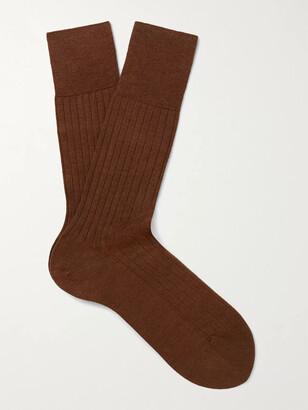Falke Ribbed Cashmere-Blend Socks - Men - Brown