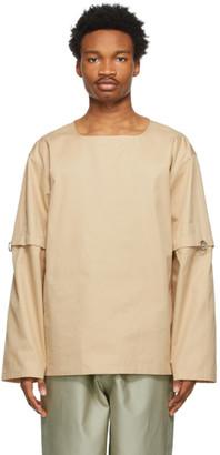 Jil Sander Tan Gabardine Detachable Sleeve Shirt