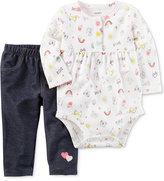 Carter's 2-Pc. Printed Bodysuit and Jeans Set, Baby Girls (0-24 months)