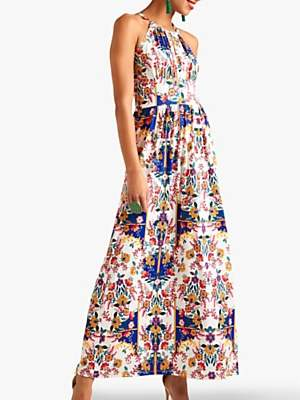 Yumi Mexican Print Maxi Dress, Ivory