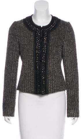 Armani Collezioni Embellished Tweed Jacket