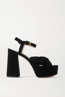 Gianvito Rossi 110 Velvet Platform Sandals - Black