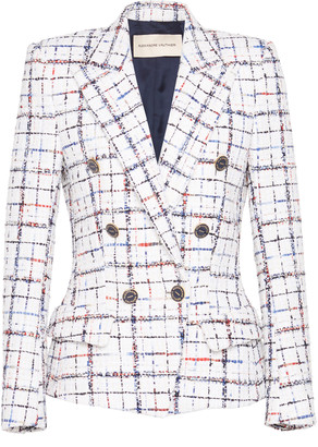 Alexandre Vauthier Plaid Tweed Double-Breasted Blazer