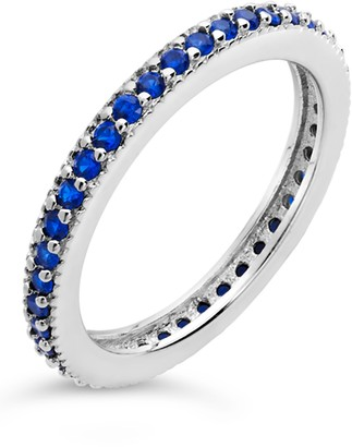 Sterling Forever Sterling Silver CZ Eternity Band Ring - Sapphire