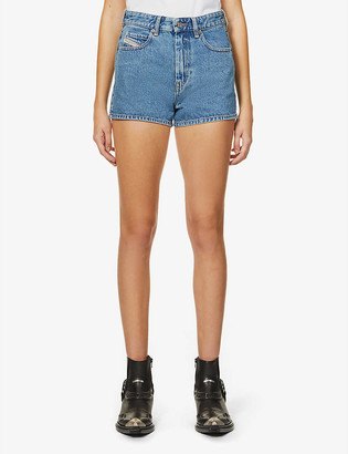 Diesel Logo-tab high-rise denim shorts